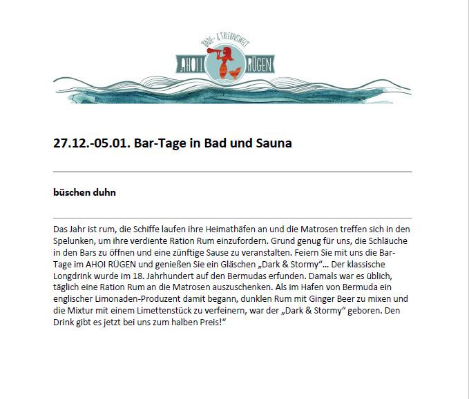 Ahoi Rügen: Bartage