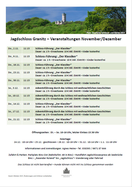 Termine Jagdschloss Granitz November/Dezember 2017