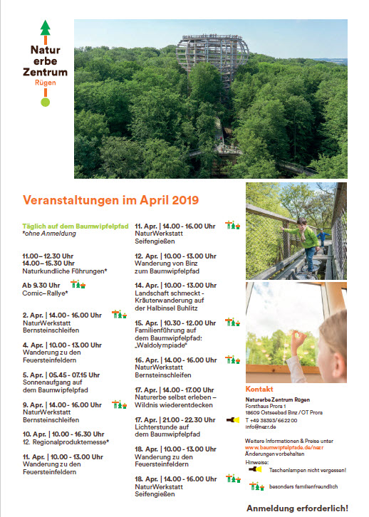 Naturerbezentrum Binz Prora Veranstaltunegen April 2019