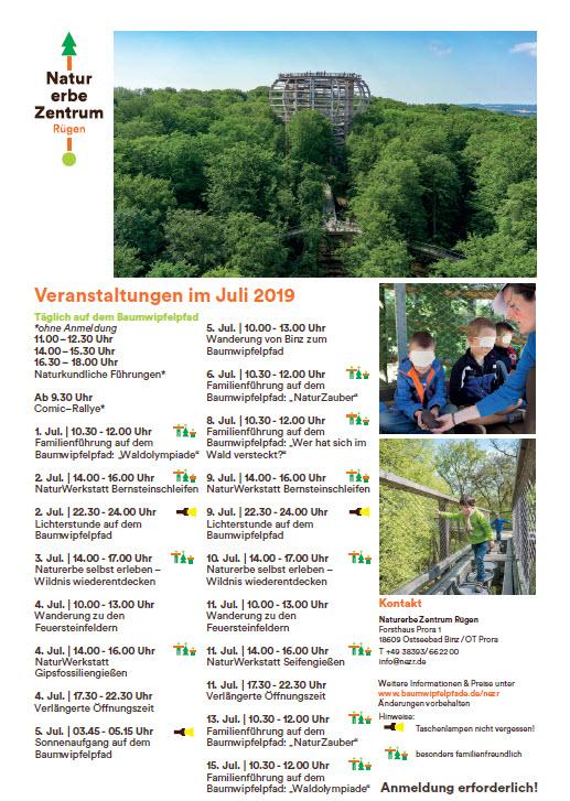Veranstaltungen Naturerbezentrum Prora-Juli 2019