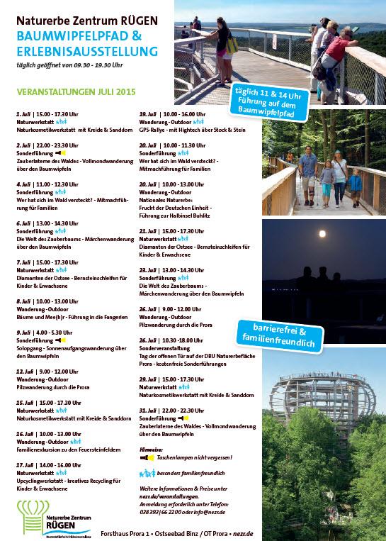 Programm Juli 2015 Baumwipfelpfad Prora