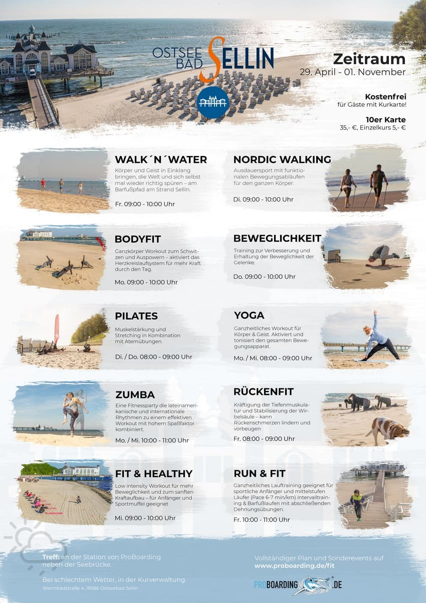 Sportangebote am Strand 2019