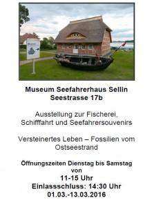 Museum Seefahrerhaus Sellin: Ausstelling April 2016