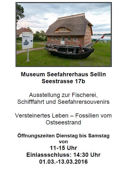 Museum Seefahrerhaus Sellin: Ausstellung April 2016