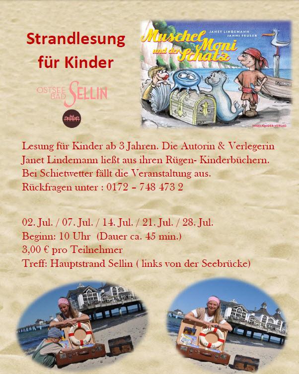 Strandlesung für Kinder in Sellin
