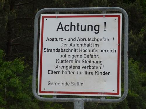 Warnschild Hochufer Sellin