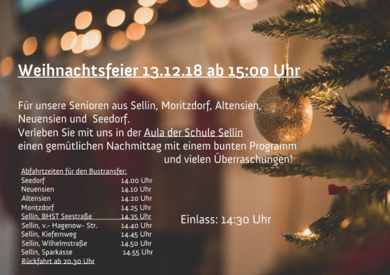 Seniorenweihnachtsfeier Dezember 2018